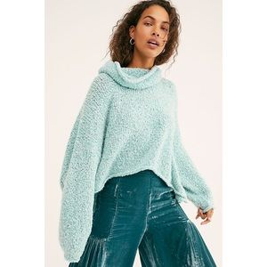 Free People Aqua blue cowl neck boxy sweater med